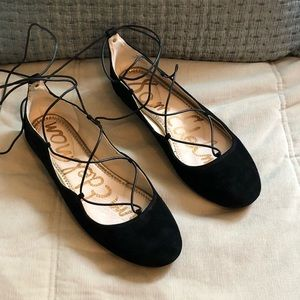 Flynt Black Lace-up Ballet Flan by Sam Adelman